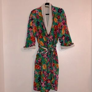 Vintage VS FORAL terry cloth lined robe